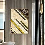 yaoxingfu Sin Marco Mármol marrón Abstracto con Lienzo Dorado ng Impresión de póster Moderno para decoración del hogar de Moda Imagen de Arte de Pared Sala de Estar 40x60 cm