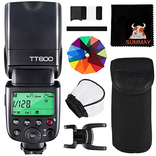 GODOX TT600 Master Slave Flash Speedlite with Standard Hotshoe Interface for Canon Nikon Pentax Olympus Fujifilm Camera, GN60, 5600k±200k, 2.4G Wireless X System, 0.1-2.6s Recycle Time