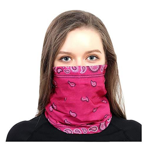 MOTOCO Face Shields Bedrucktes Multifunktionstuch Damen Herren Elastische Halstuch Nahtlose Schlauchtuch UV Schutz für Yoga Radfahren Motorradfahren(25X50CM.Pink)