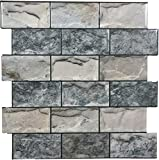 Crystiles 12'x12' Vinyl Peel and Stick Backsplash Tile, Matte Finish 3D Effect Granite,'Pro' Series Thicker Version, 4-Sheet Pack
