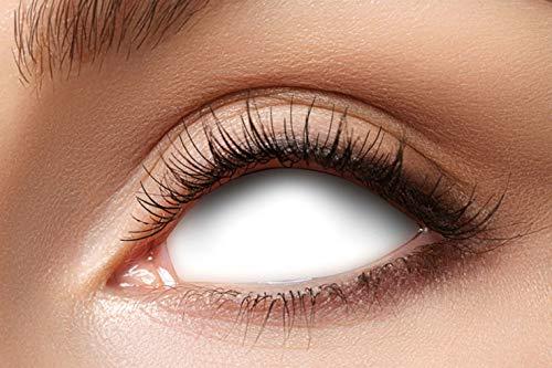 Eyecatcher 84091541.s35 - Farbige Sclera Kontaktlinsen, 1 Paar, für 6 Monate, Weiß, blind, Karneval, Fasching, Halloween