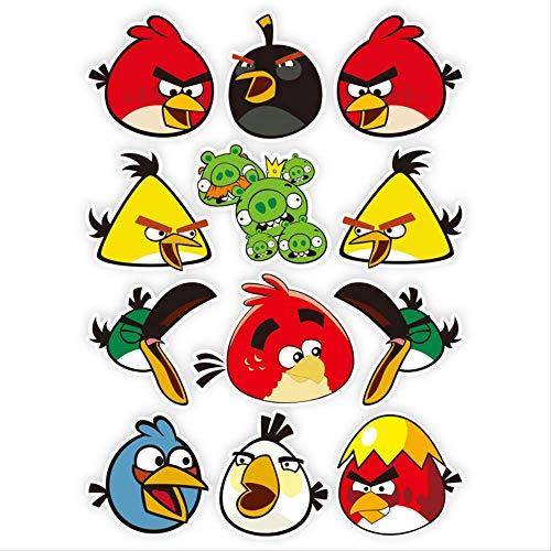 ZAQQ Angry Birds Viajan Dibujos Animados Lindo Maleta Teléfono Portátil Guitarra Skate Pegatina Impermeable Pegatina