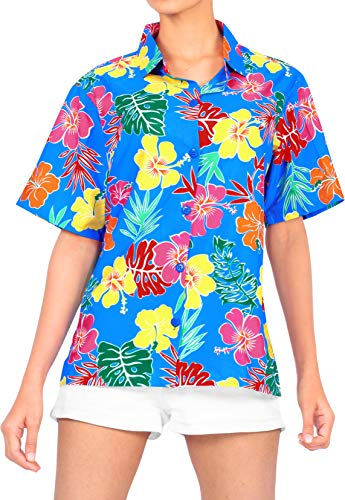 LA LEELA Donne Party Beachwear Camicia Hawaiana Casuale Classico Regolare Aloha Estate S - IT Dimensione : - 46-48 Blu_AA144