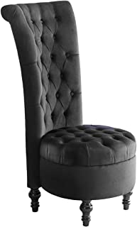 High Stretch Dining Chair Velvet Accent Side Chair Luxury High Back Retro Lounge Chair Sofa Couch - Black