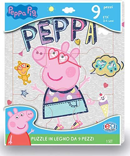Peppa Pig, 1 Puzzle in Legno Personalizzato da 9 Pezzi, dai 2 ai 4 Anni - 6056258