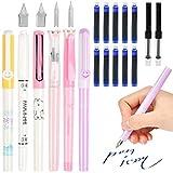 Bolígrafo de Caligrafía Set 22PCS, Incluye Bolígrafo Borrable y Bolsa de Tinta Reemplazable, con 10 Puntas de Diferentes Tamaños - Set Completo Aprendizaje Fácil para Principiantes - Estuche Incluido
