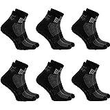 Rainbow Socks - Hombre Mujer Deporte Calcetines Antideslizantes ABS de Algodón - 6 Pares - Negro - Talla 47-50