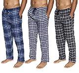 3 Pack : Flannel Mens Pajama Pants Cotton Super Soft Pajamas for Men Flannel Fleece Buffalo Plaid Pj Lounge Pants Men,ST 6-M