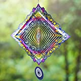 Wind Spinners Outdoor Metal Decorations | Stainless Steel Ornament for Evil Eye Mandala Garden Home Decor | Multi Color Metal Sun Catcher Art for Tree Hanging, Backyard