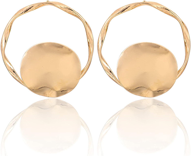 coadipress Gold Circle Disc Earrings for Women and Girls Round Hoop Statement Charm Minimalist Bohemian Geometric Retro Shimmering Earrings Jewelry