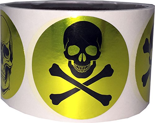 Gold Skull and Crossbones Circle Dot Stickers, 2 Inch Round, 100 Labels on a Roll