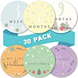 Linda's Baby Monthly Stickers for Baby Boy and Girl   30 Pack   0-12 Months & Holidays Baby Milestone Stickers   Easy Peel Month Stickers   Perfect Photo Prop for Newborn