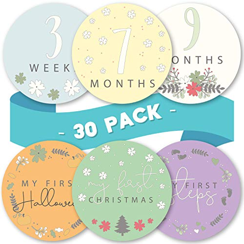 Linda's Baby Monthly Stickers for Baby Boy and Girl | 30 Pack | 0-12 Months & Holidays Baby Milestone Stickers | Easy Peel Month Stickers | Perfect Photo Prop for Newborn