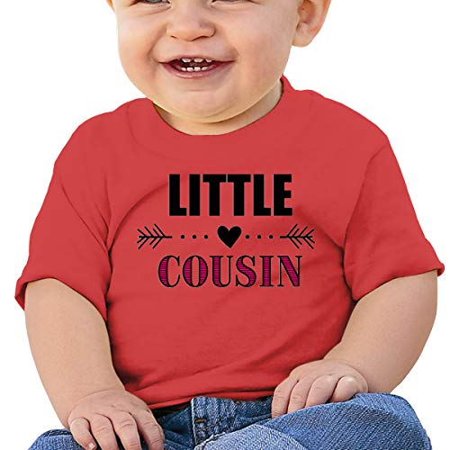 Huahai Child Short Sleeve Little Cousin with Heart Arrow Boys Camiseta para bebé, rojo, 2T