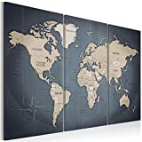 murando - Cuadro en Lienzo 120x80 cm Mapamundi - Impresión de 3 Piezas Material Tejido no Tejido Impresión Artística Imagen Gráfica Decoracion de Pared - Continente Mapa k-A-0058-b-h