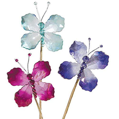 Ohio Wholesale Butterfly Picks for Gift Baskets/Floral Arrangements, Set of 3 in Pink & Blue