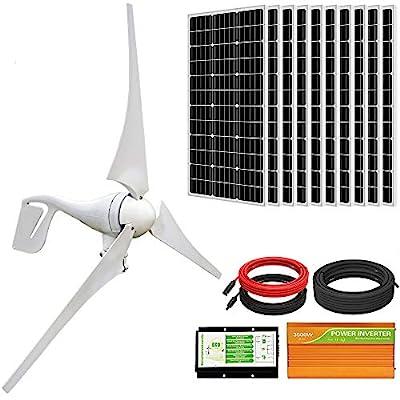 ECO-WORTHY 1400W Wind Solar Power Kit: 400W DC 24V Wind Turbine Generator 3 Blade with Controller & 10pcs 100W Mono Solar Panels & 3500W 24V-110V Off Grid Inverter for Home, Boat, RV