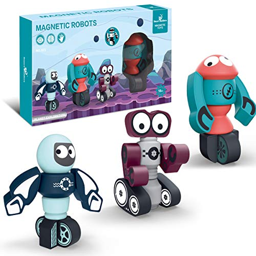 HARD CRAFTS Magnetic Robots for Kids Building Blocks Magnet Toys Stacking Robots Toy STEM Educational Gifts for Boys Girls and Toddlers Ages 2-6 (3-323)