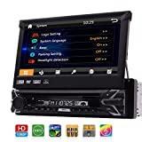 Single Auto DVD Player 7 Zoll abnehmbare kapazitive Touchscreen 1Din GPS Navigation Stereo Bluetooth Autoradio In Dash HeadUnit FM AM RDS 1080p Video CAM-IN USB SD AUX mit 8GB Karte und...