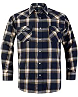 Snap Buttons Flannel Shirts for Men Regular Fit Mens Long Sleeve Shirt,Yellow Navy MFL001,X-Large