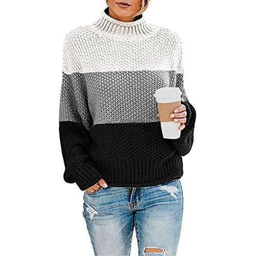 Herbst/Winter Strickwaren Damen Thick Line Rollkragenpullover Langarm T-Shirt