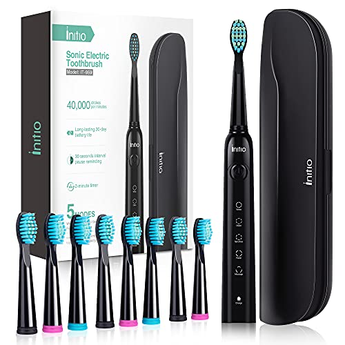 Initio Sonic Electric Toothbrush, 5 Modes with Smart Timer, 8 Brush Heads & Travel Case Included, Rechargeable Toothbrush, Oral Care Whitening Toothbrush