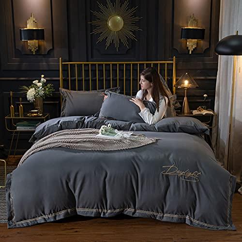 Set di biancheria da letto singolo, set copripiumino in cotone tinta unita ricamo, federa per biancheria da letto in lenzuola per appartamenti camera da letto grigio scuro 1 150 * 200cm (3 pezzi)