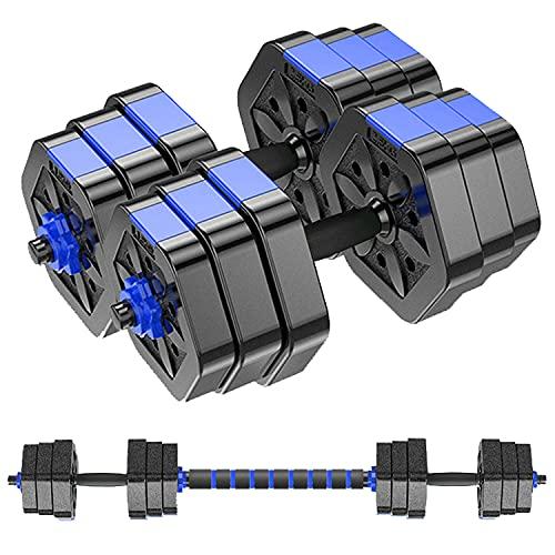 MOJEER ダンベル 可変式 3in1】10kg 20kg 30kg 40kg 2個セット バーベルにもなる ダンベル 無臭素材 静音 HB008 (10kg×2個/青CP)