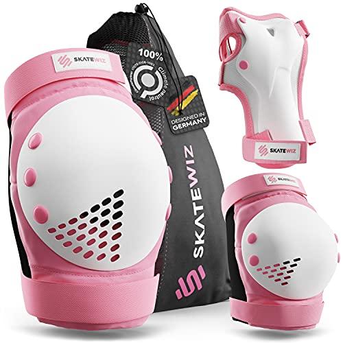 SKATEWIZ Schutzausrüstung Inliner Kinder - SMASH - Größe S in Pink Weiß - Kinder Protektoren Set - Inline Schoner Kinder Inliner Zubehör