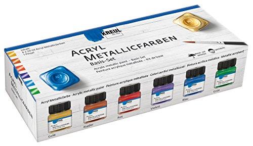 Kreul 77600 - Acryl Metallicfarbe, glamouröse Acrylfarbe mit Metalliceffekt auf Wasserbasis, cremig deckend, schnelltrocknend und wasserfest, 6 x 20 ml Farbe und ein Pinsel
