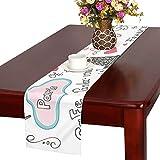QIAOLII Set Collection Paris Symbolslettering Dibujado a Mano Doodle Table Runner, Kitchen Dining Table Runner 16 X 72 Inch para cenas, Eventos, decoración