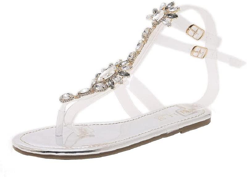 ShenPr Women Flat Crystal Sandals Rhinestone Diamond Shoes Bohemia T Strap Sandals Peep Toe Beach Sandals