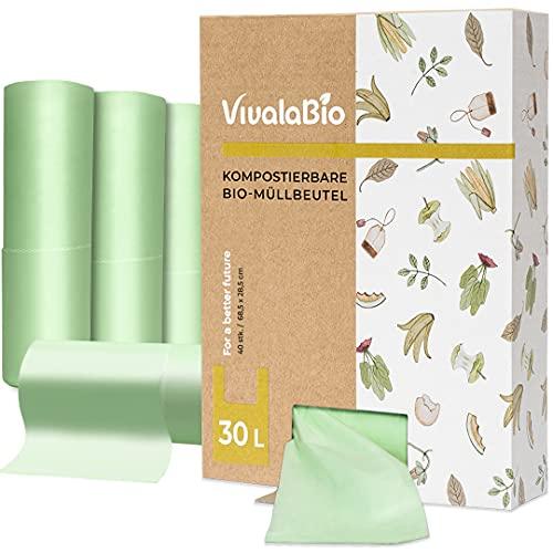 VivalaBio 30L kompostierbare Biomüllbeutel mit Henkel 40 Stück für den Heim Kompost - auch als 6L, 10L