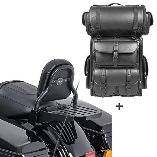 Respaldo Sissy Bar CXS + Bolsa Trasera LX para Harley Touring 14-20