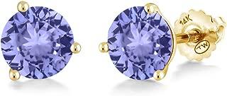 Gem Stone King 1.80 Ct Round 6mm Blue Tanzanite 14K Yellow Gold Martini Setting Stud Earrings