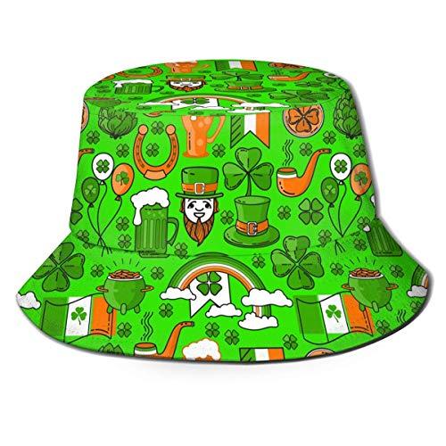 Henry Anthony Cappello da Birra Irlandese Trifoglio di San Patrizio Cappello da Birra con Stampa Unisex Cappello Modello Pescatore Cappellino Estivo Reversibile Ripiegabile
