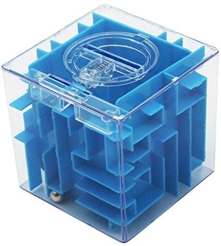 Jungen dinero laberinto Puzzle Box Un divertido Twist en regalos Coin Hucha, plástico, azul, 9cm x 9cm x 9cm