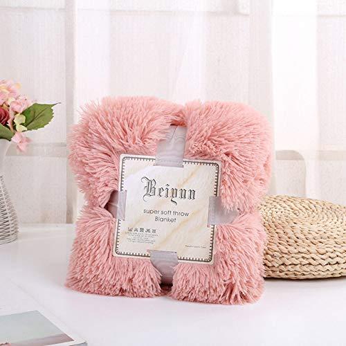 YIEBAI, Blankets Super Soft Fuzzy Elegant Cozy With Fluffy Throw Blanket Bed Sofa Bedspread Long Shaggy Soft Warm Bedding Sheet,Bean powder,Cushion Cover