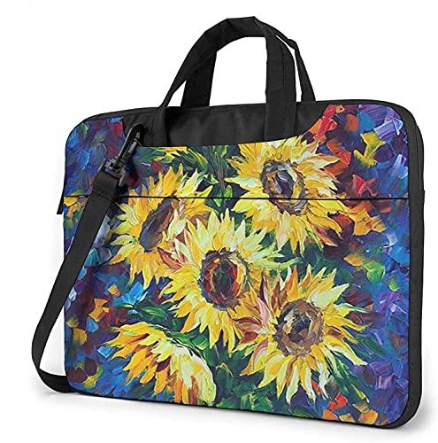 AOOEDM Night Sunflowers Bolsa de mensajero de hombro para computadora portátil, estuche de transporte multifuncional con funda para computadora portátil de 15.6 pulgadas con correa y cinturón