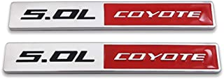 AxleZx 2X Chrome Metal 5.0 Coyote Logo Emblem 5.0L Badge 3D Turbo Sticker Car Decal for Mustang GT (Silver&Red)