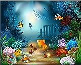ZHEN WALLPAPER Papel Tapiz 3D Personalizado Foto Mural Vector Mundo de la Criatura Marina Fondo de la cabecera Papeles de Pared decoración del hogar Papel de Pared 3D❉150cm * 105cm (59.1x41.3inch)