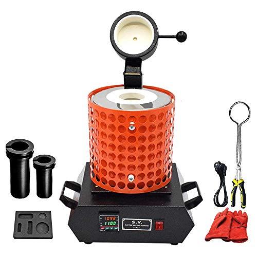 Fasttobuy 3 kg de horno de fusión digital 1100 °C /2012 °F, horno de fusión automático para metal, fusión eléctrica, kit con 2 barras de grafito y forma de barril de grafito