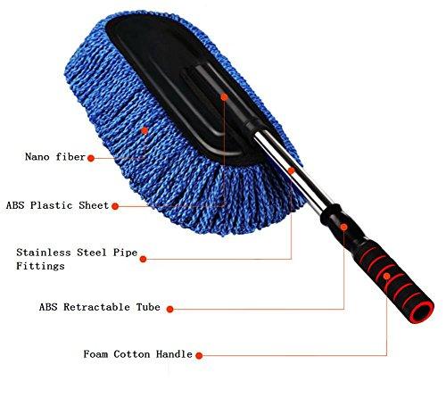 Fournitures de lavage de voiture brosse de nettoyage brosse de cire de voiture télescopique 2 ensembles de poussière de cire drag détachable taille bleue costume