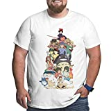 My Neighbor Totoro Men's Plus Size Short Sleeve T Shirts Cotton Fashion Classic Tee Tops White 4X-Large
