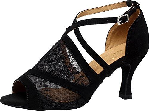 Zapatos de baile latino de malla para mujer Tacones personalizados Peep Toe Cha-cha Pratice Tango Salsa, color Negro, talla 39.5 EU