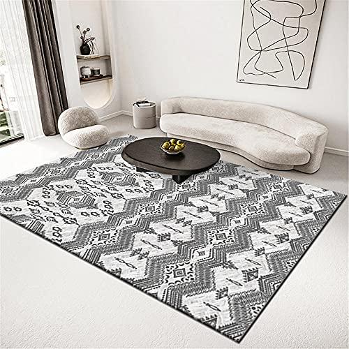 alfombras habitacion niño Alfombra Blanca Gris, patrón de ondulación Cojín de Arrastre de cojín balcón Caliente fácil de vacío Alfombra alfombras Dormitorio Matrimonio -Grisáceo_80x120cm
