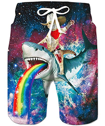 Loveternal Mens Shark Swimming Trunks Casual Anime Shorts Plus Size Crazy Rainbow Cat Swim Trunks with Pockets BeachShorts with Liner Animal Galaxy Bermuda Shorts Funny Fish Board Shorts XXL