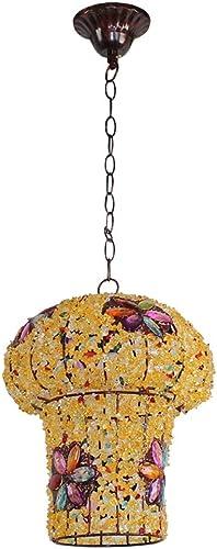 WENYAO La Saison des récoltes Retro Bar Unique tête créative Vent lumières Lustre Abat-Jour en plexiglas Main perlé -E14 (Couleur  3)