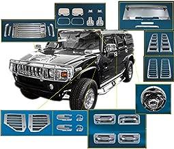 ZMAUTOPARTS Door Handle Mirror Hood Deck Vent Cover Trim Chrome 36Pcs Combo For 2003-2005 Hummer H2