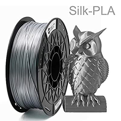 CCTREE Shiny Silk Titanium Silver PLA 1.75mm 3D Printing Filament for Creality CR-10 V2,CR-10S,Ender 3,Ender 3 Pro,Ender 5,S5,1kg Spool (2.2lbs)